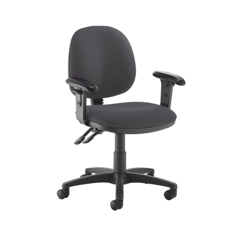Jota medium back PCB operators chair with adjustable arms - Blizzard Grey - Furniture