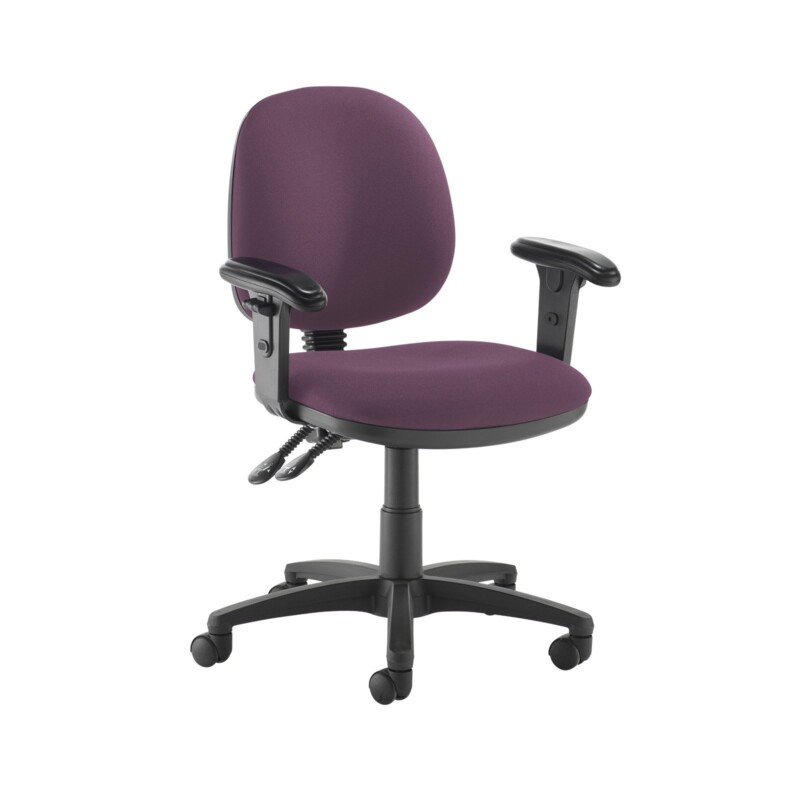 Jota medium back PCB operators chair with adjustable arms - Bridgetown Purple - Furniture
