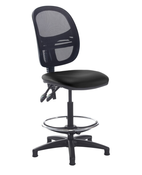 Jota mesh back draughtsmans chair with no arms - Nero Black vinyl - Furniture