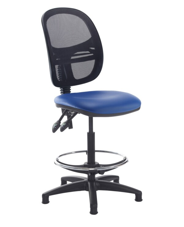 Jota mesh back draughtsmans chair with no arms - Ocean Blue vinyl - Furniture