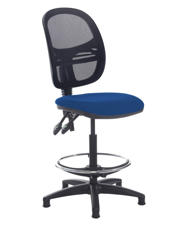 Jota mesh back draughtsmans chair with no arms - Curacao Blue - Furniture