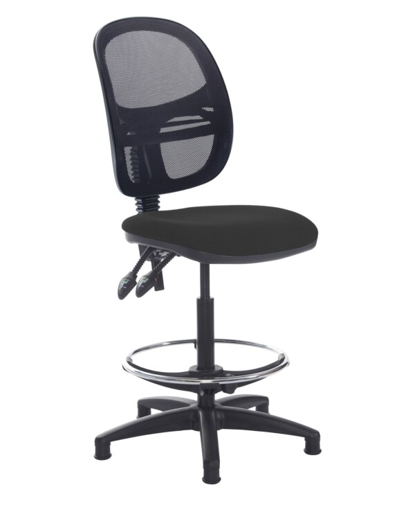 Jota mesh back draughtsmans chair with no arms - Havana Black - Furniture