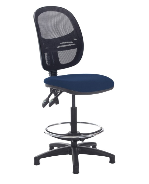 Jota mesh back draughtsmans chair with no arms - Costa Blue - Furniture