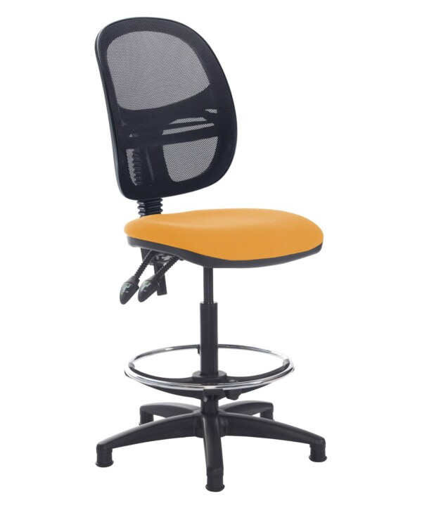 Jota mesh back draughtsmans chair with no arms - Solano Yellow - Furniture
