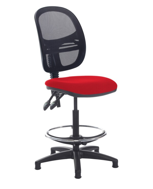 Jota mesh back draughtsmans chair with no arms - Panama Red - Furniture