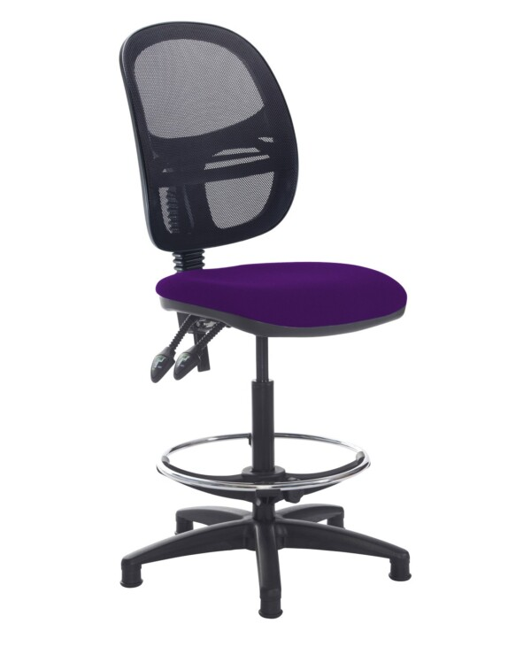 Jota mesh back draughtsmans chair with no arms - Tarot Purple - Furniture