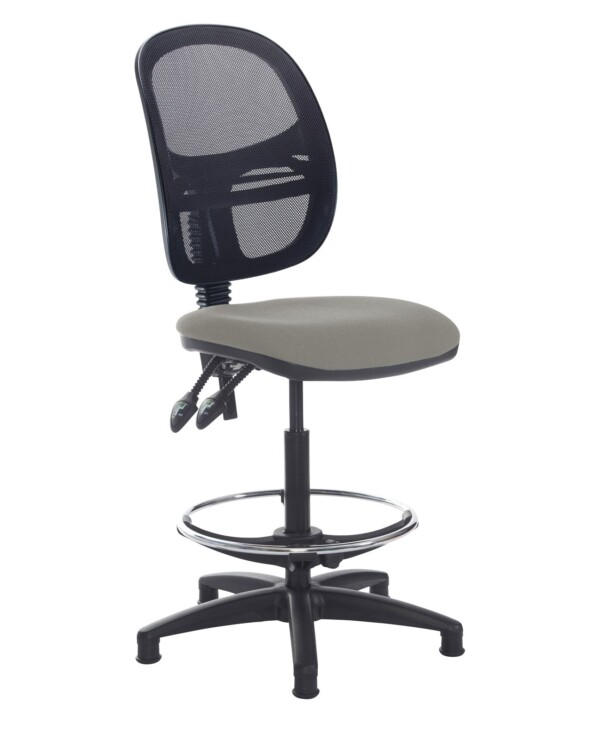 Jota mesh back draughtsmans chair with no arms - Slip Grey - Furniture