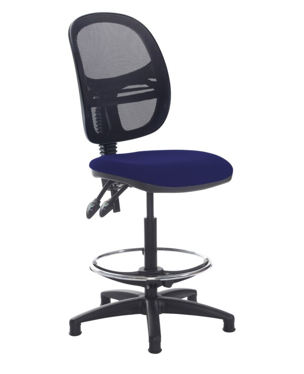 Jota mesh back draughtsmans chair with no arms - Ocean Blue - Furniture