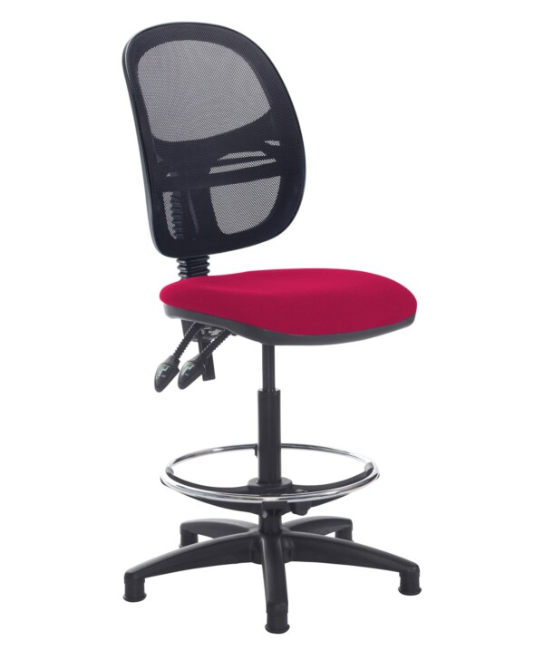 Jota mesh back draughtsmans chair with no arms - Diablo Pink - Furniture