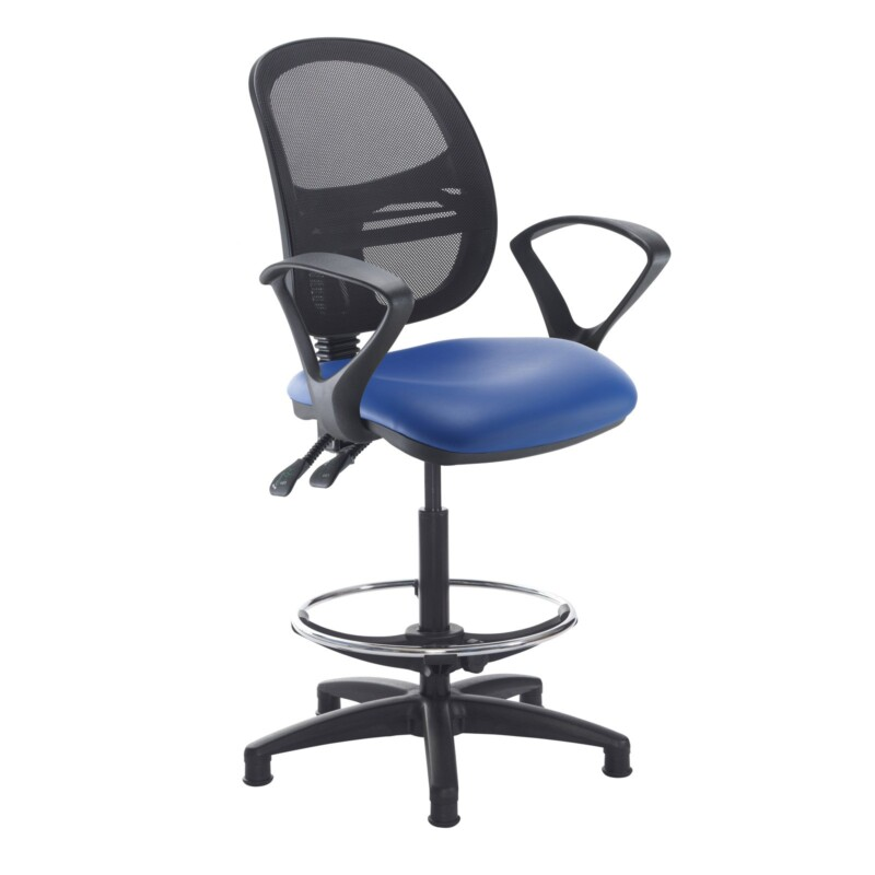Jota mesh back draughtsmans chair with fixed arms - Ocean Blue vinyl - Furniture