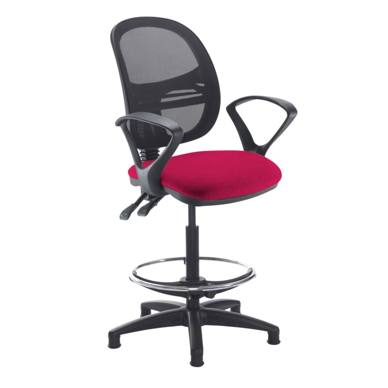 Jota mesh back draughtsmans chair with fixed arms - Diablo Pink - Furniture