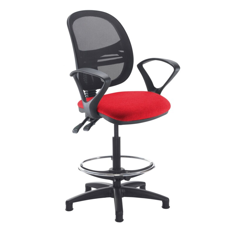 Jota mesh back draughtsmans chair with fixed arms - Belize Red - Furniture