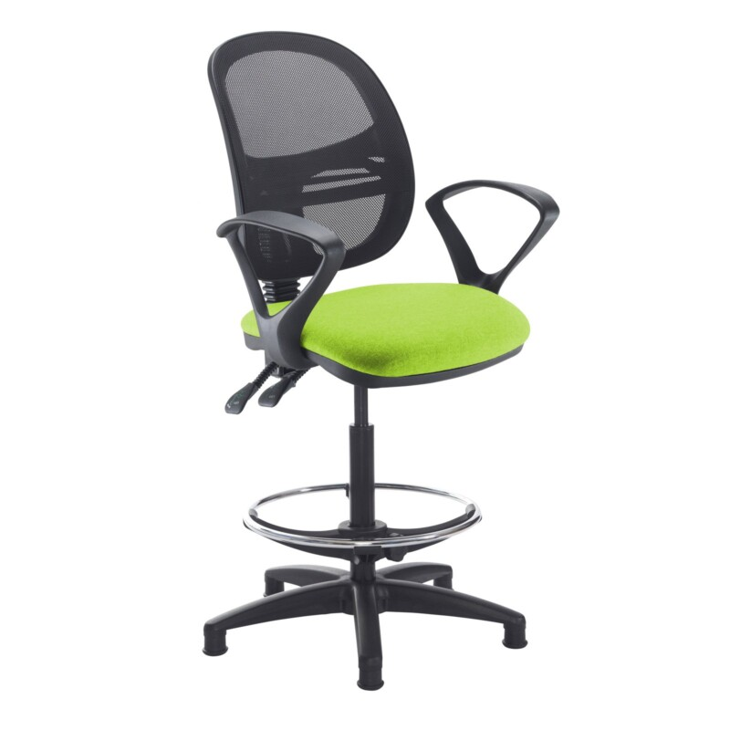 Jota mesh back draughtsmans chair with fixed arms - Madura Green - Furniture