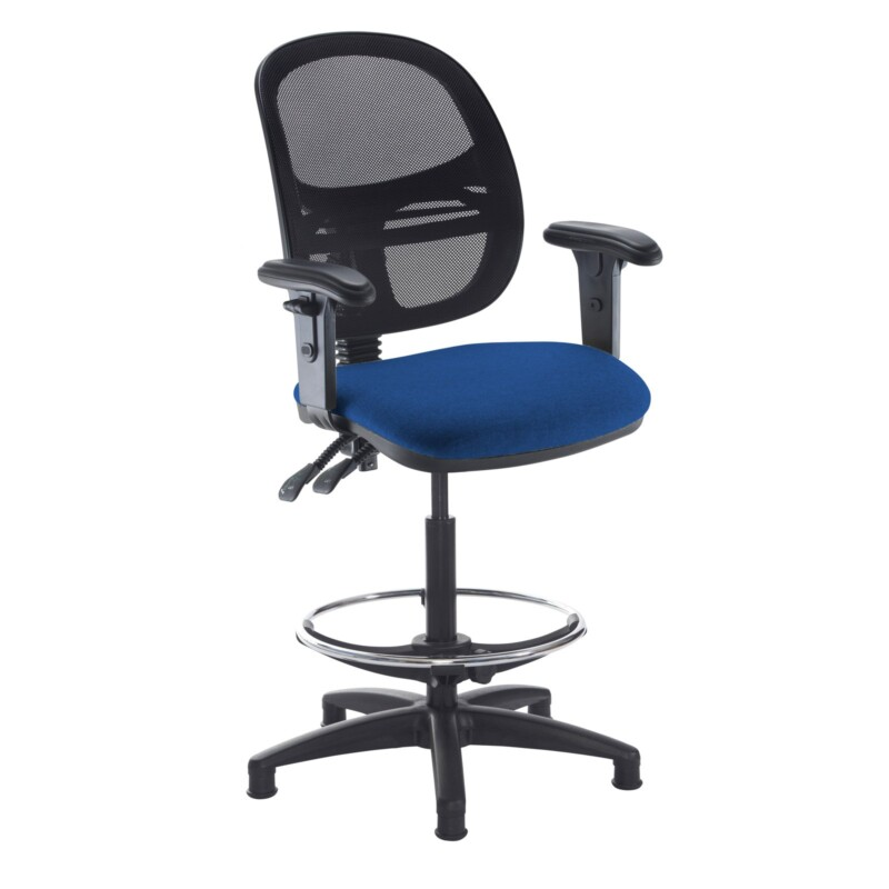 Jota mesh back draughtsmans chair with adjustable arms - Curacao Blue - Furniture