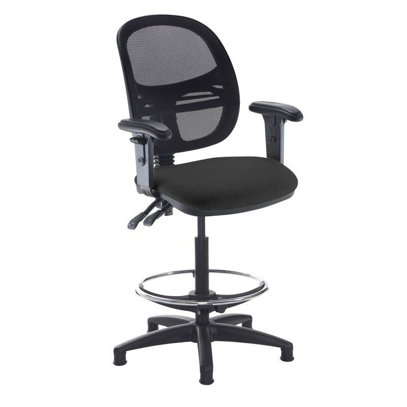 Jota mesh back draughtsmans chair with adjustable arms - Havana Black - Furniture