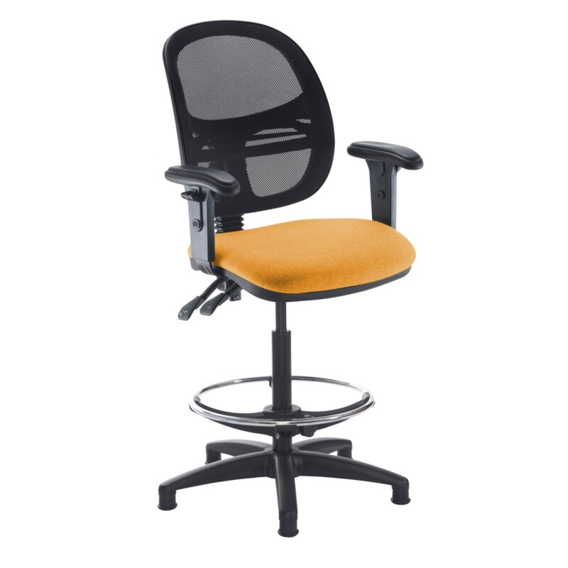 Jota mesh back draughtsmans chair with adjustable arms - Solano Yellow - Furniture
