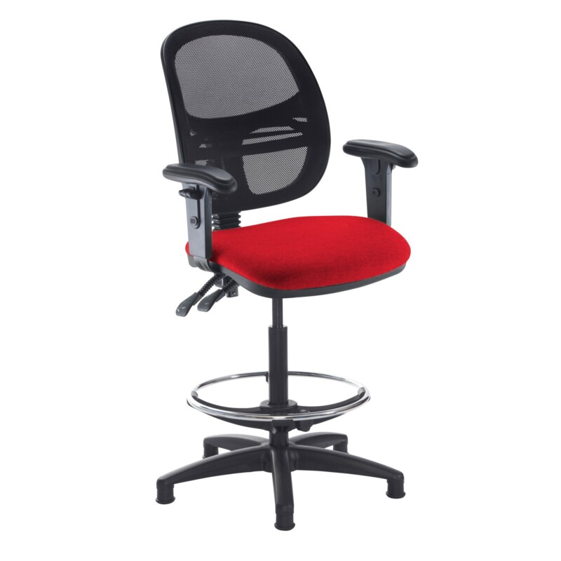Jota mesh back draughtsmans chair with adjustable arms - Panama Red - Furniture