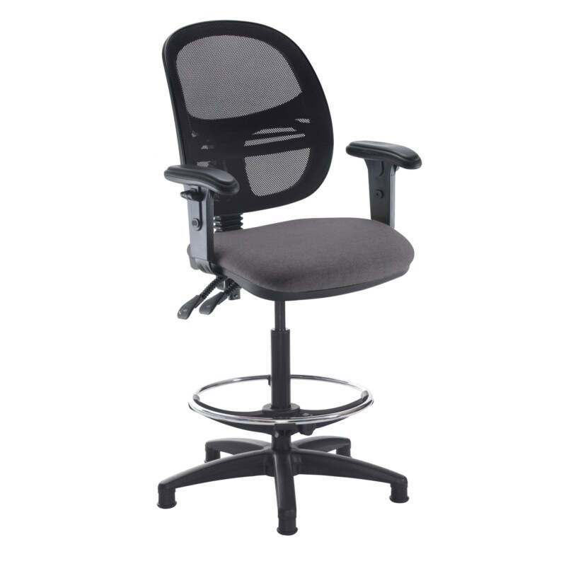 Jota mesh back draughtsmans chair with adjustable arms - Blizzard Grey - Furniture