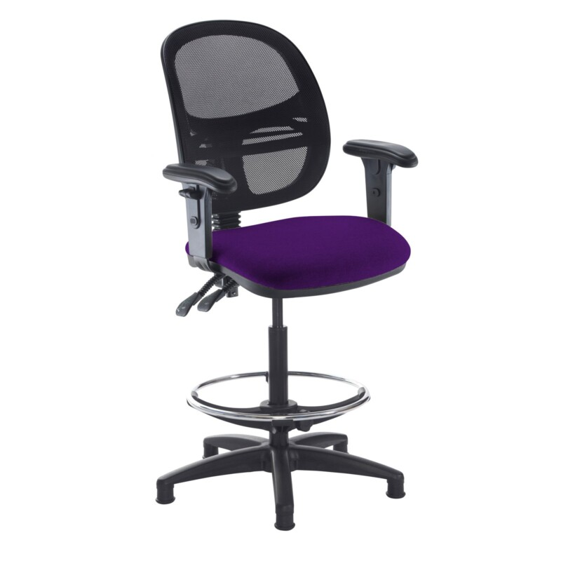 Jota mesh back draughtsmans chair with adjustable arms - Tarot Purple - Furniture