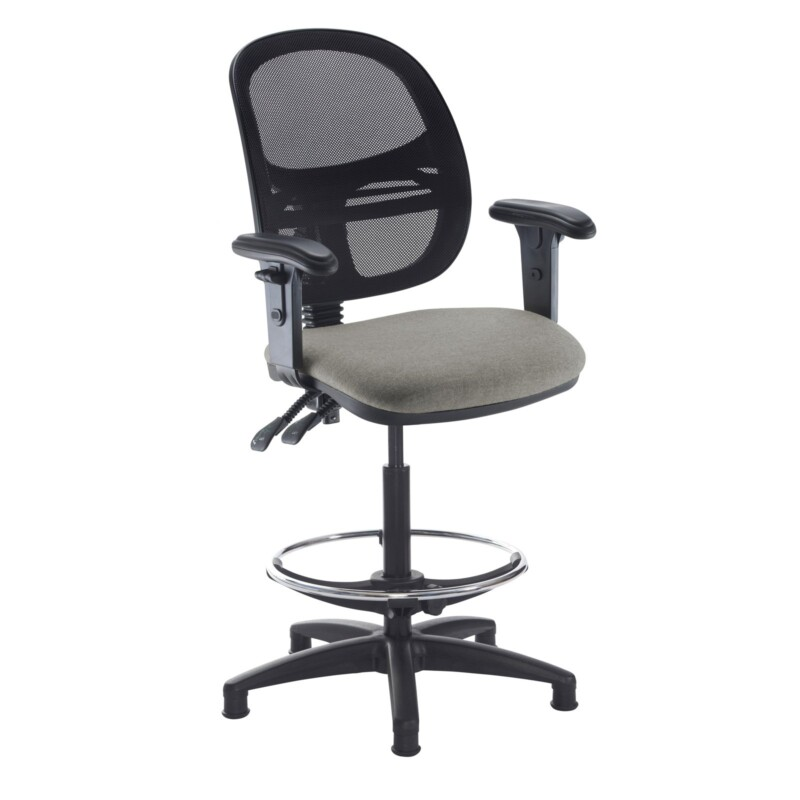 Jota mesh back draughtsmans chair with adjustable arms - Slip Grey - Furniture