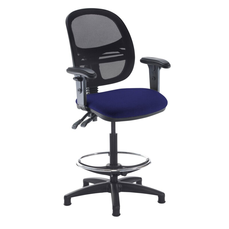 Jota mesh back draughtsmans chair with adjustable arms - Ocean Blue - Furniture