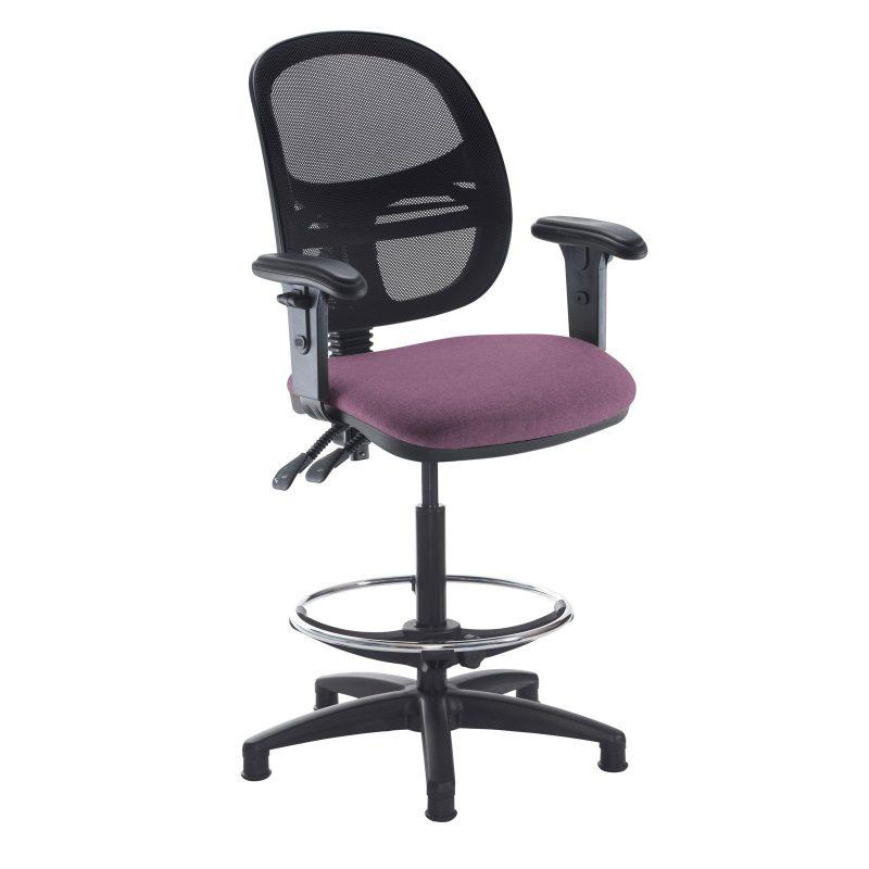 Jota mesh back draughtsmans chair with adjustable arms - Bridgetown Purple - Furniture