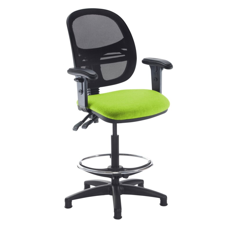 Jota mesh back draughtsmans chair with adjustable arms - Madura Green - Furniture