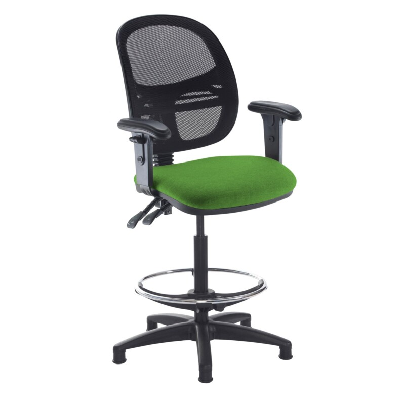 Jota mesh back draughtsmans chair with adjustable arms - Lombok Green - Furniture