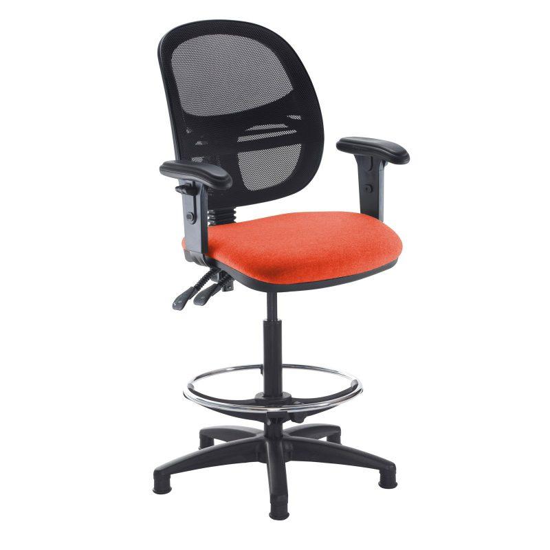 Jota mesh back draughtsmans chair with adjustable arms - Tortuga Orange - Furniture