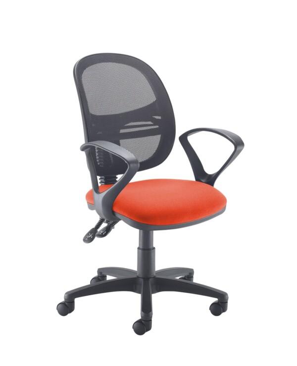 Jota Mesh medium back operators chair with fixed arms - Tortuga Orange - Furniture