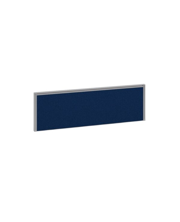 Straight fabric desktop return screen 1185mm x 380mm - blue fabric with black aluminium frame - Furniture