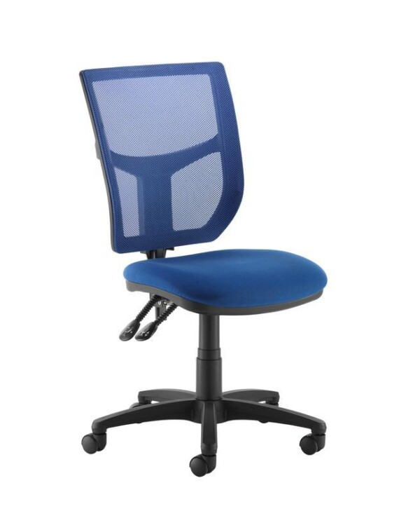 Altino coloured mesh back operators chair with no arms - blue mesh and fabric seat - Furniture