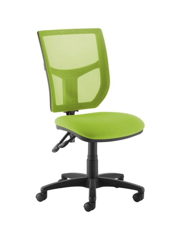Altino coloured mesh back operators chair with no arms - green mesh and fabric seat - Furniture