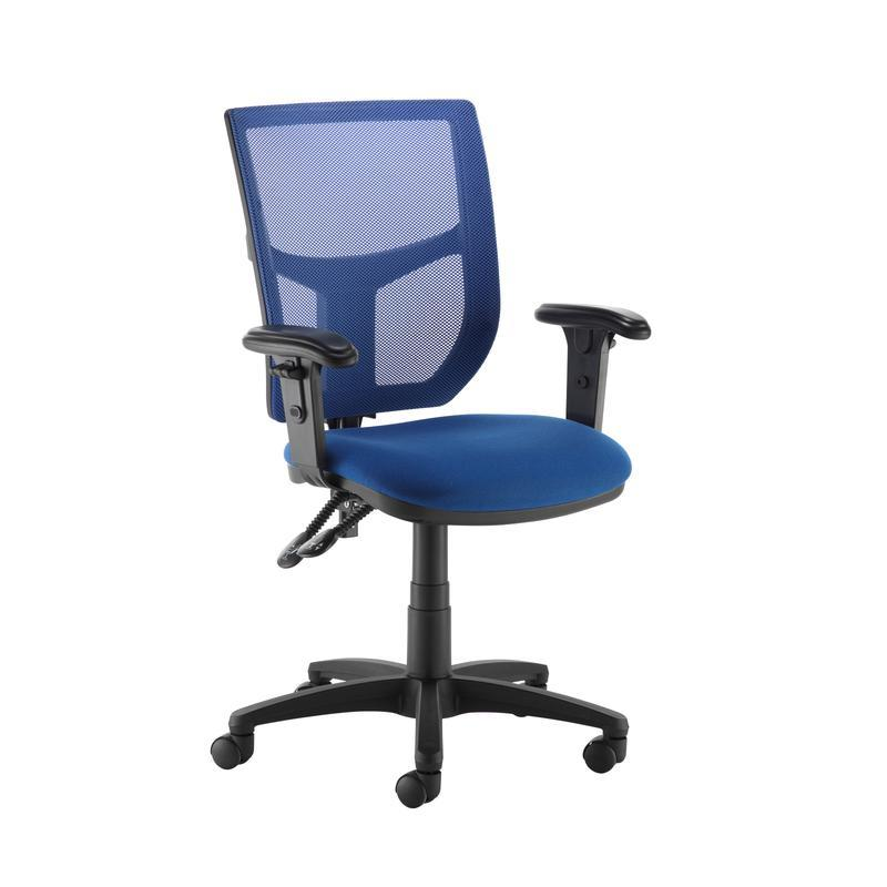 Altino coloured mesh back operators chair with adjustable arms - blue mesh and fabric seat - Furniture