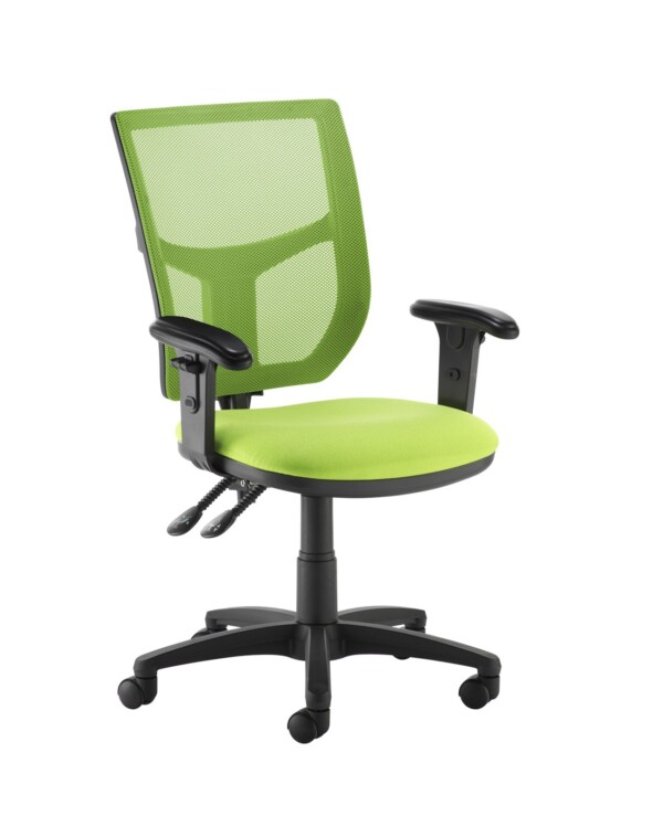 Altino coloured mesh back operators chair with adjustable arms - green mesh and fabric seat - Furniture