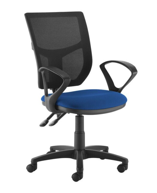 Altino 2 lever high mesh back operators chair with fixed arms - blue - Furniture