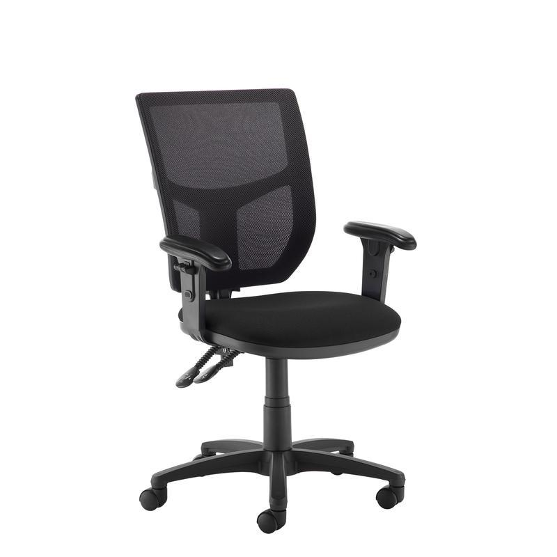 Altino 2 lever high mesh back operators chair with adjustable arms - black - Furniture