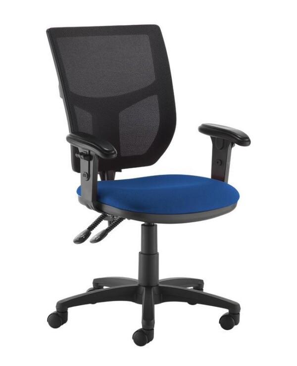 Altino 2 lever high mesh back operators chair with adjustable arms - blue - Furniture
