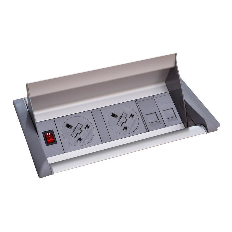 Aero fliptop in-table power module 2 x UK sockets , 2 x RJ45 sockets - grey/silver - Furniture