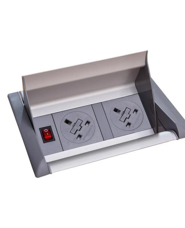 Aero fliptop in-table power module 2 x UK sockets - grey/silver - Furniture