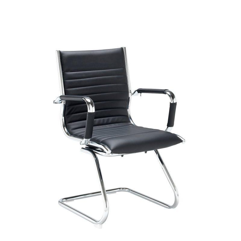 Bari executive visitors chair - black faux leather - Furniture