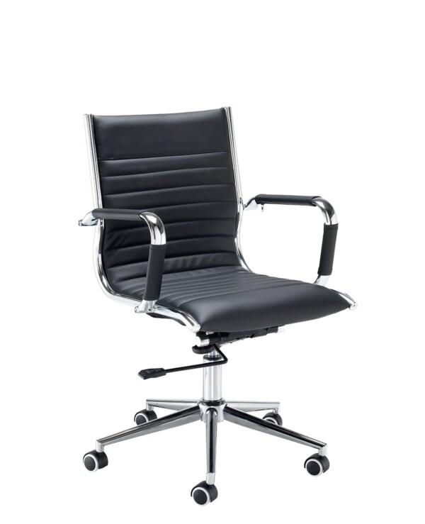 Bari medium back executive chair - black faux leather - Furniture