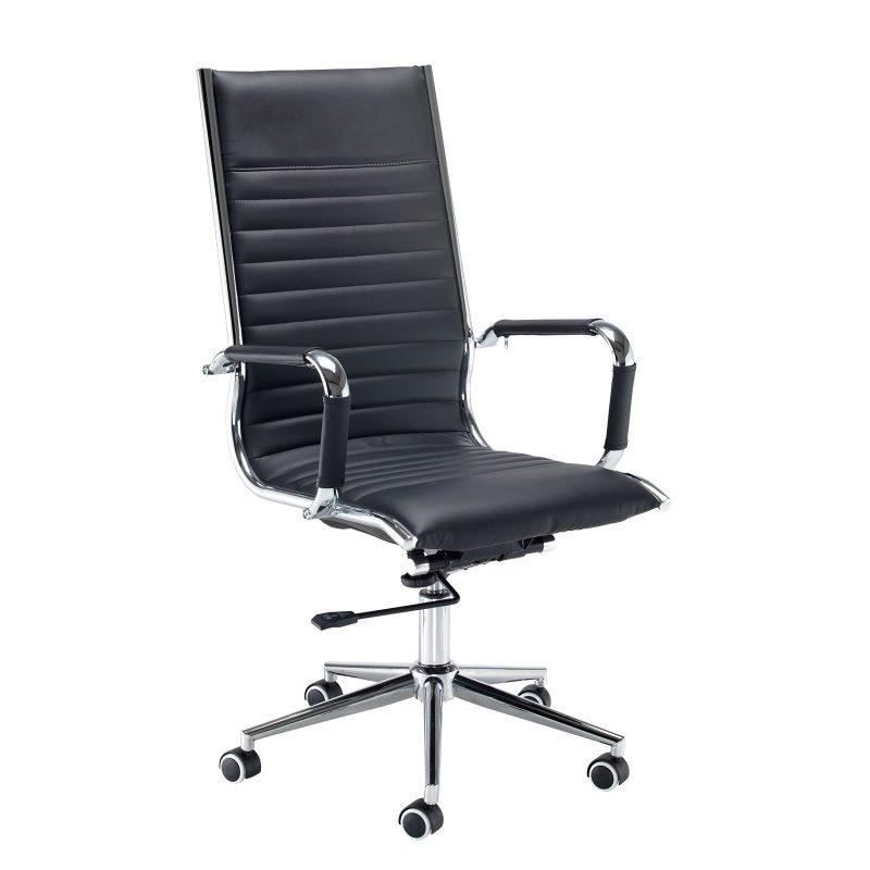 Bari high back executive chair - black faux leather - Furniture