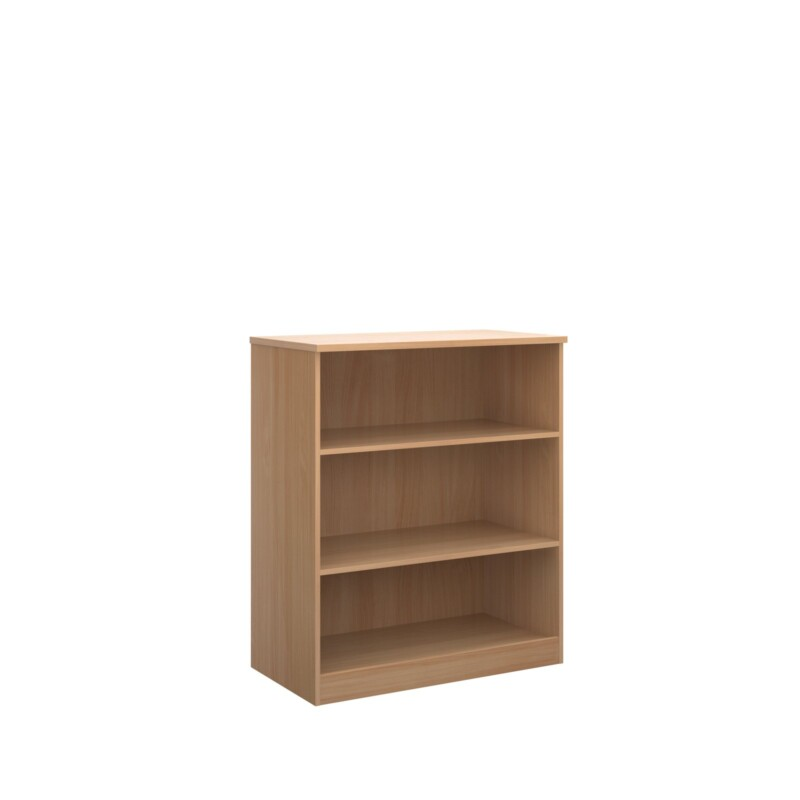 Deluxe bookcase 1200mm high with 2 shelves - beech - Furniture