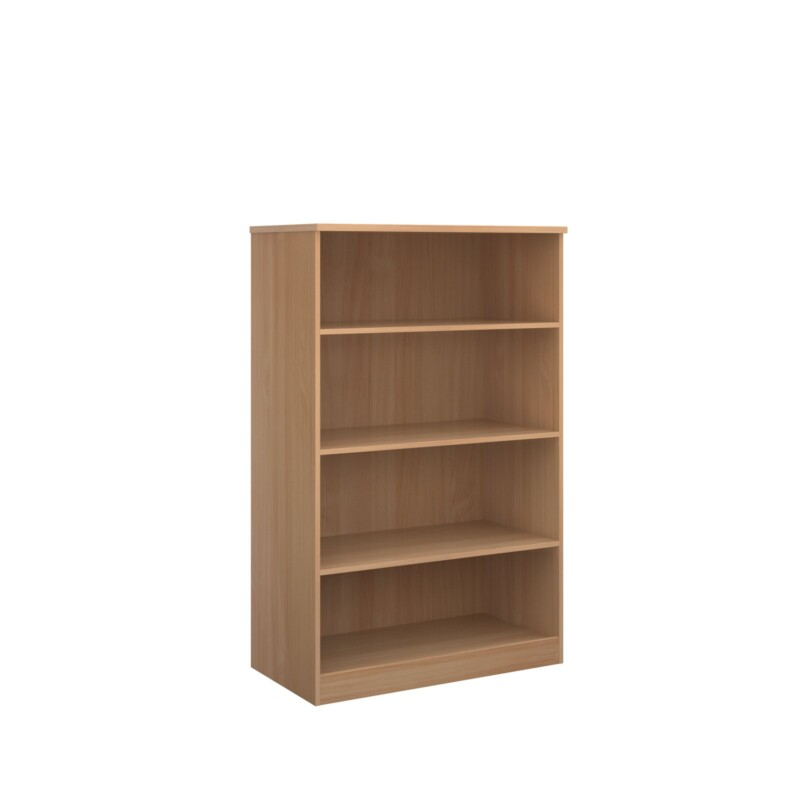 Deluxe bookcase 1600mm high with 3 shelves - beech - Furniture