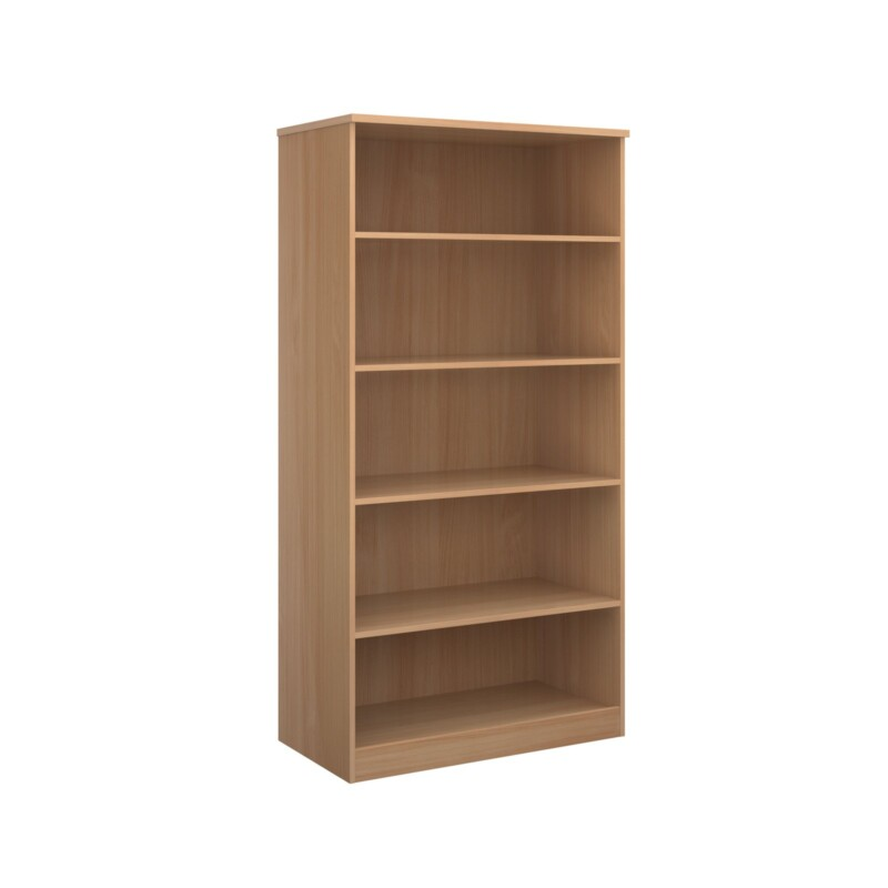 Deluxe bookcase 2000mm high with 4 shelves - beech - Furniture