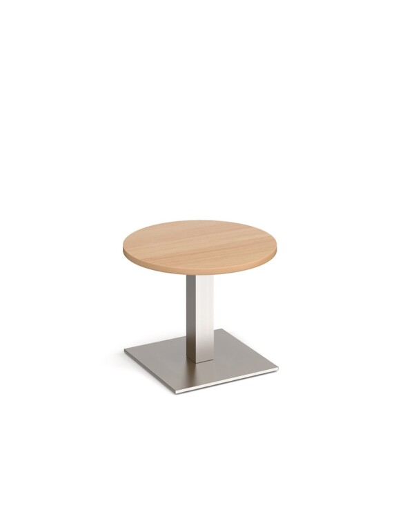 Brescia circular coffee table with flat square brushed steel base 600mm - beech - Furniture