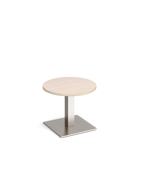 Brescia circular coffee table with flat square brushed steel base 600mm - maple - Furniture