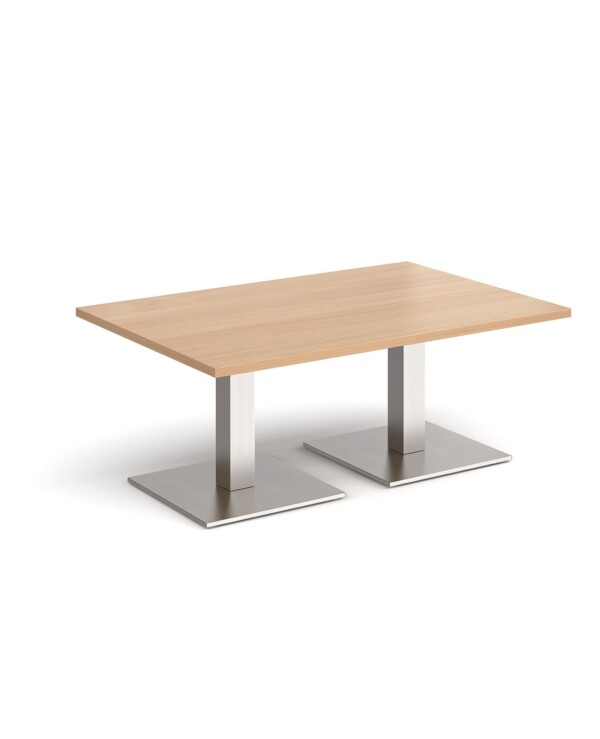 Brescia rectangular coffee table with flat square brushed steel bases 1200mm x 800mm - beech - Furniture