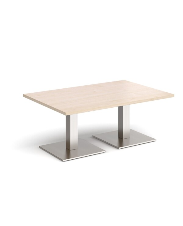 Brescia rectangular coffee table with flat square brushed steel bases 1200mm x 800mm - maple - Furniture